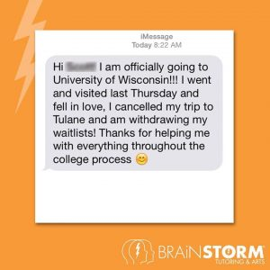 Text message from admissions prep student in Butler NJ - tutoring news 1-24-18