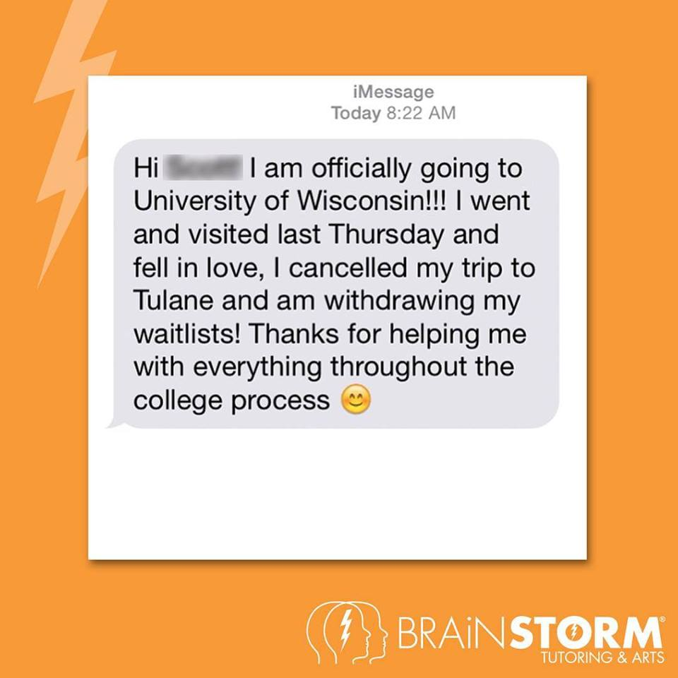 Text message from admissions prep sudent in Butler NJ