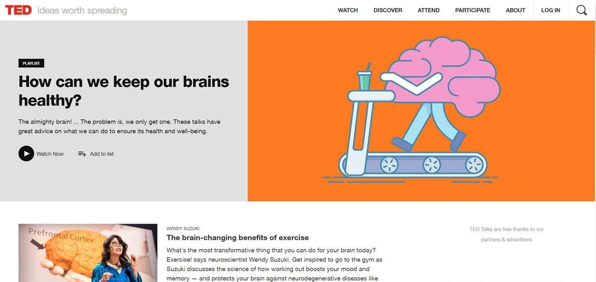 TED talks healthy brain series playlist screen shot - brainstorm tutoring blog