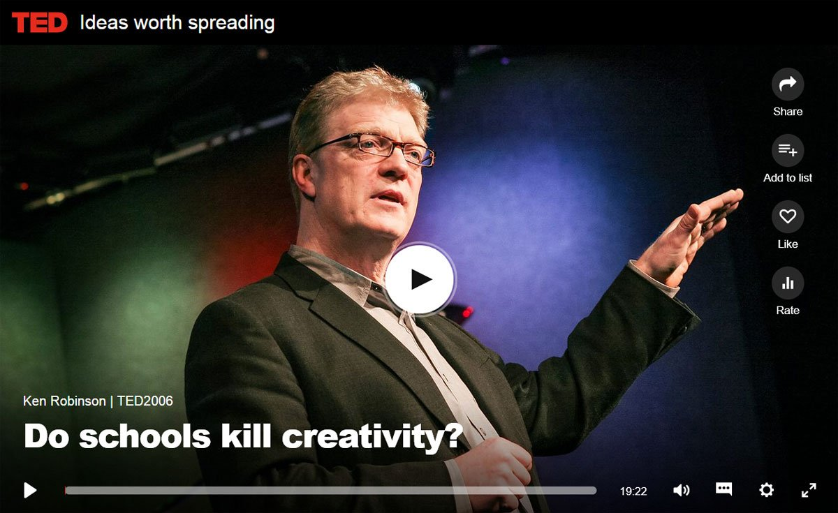 BrainStorm Tutoring blog - TED Talks screenshot - do schools kill creativity