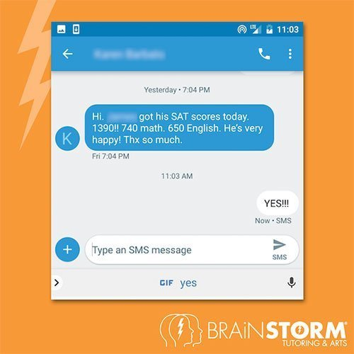 BrainStorm Tutoring review improved SAT scores