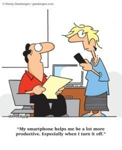 Cartoon - phones and productivity - BrainStorm Tutoring Franklin Lakes NJ