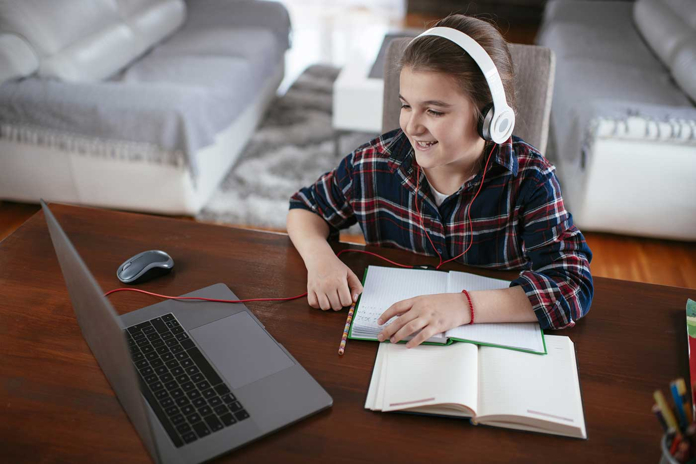 BrainStorm Tutoring Franklin Lakes NJ stock photo of student remote learning